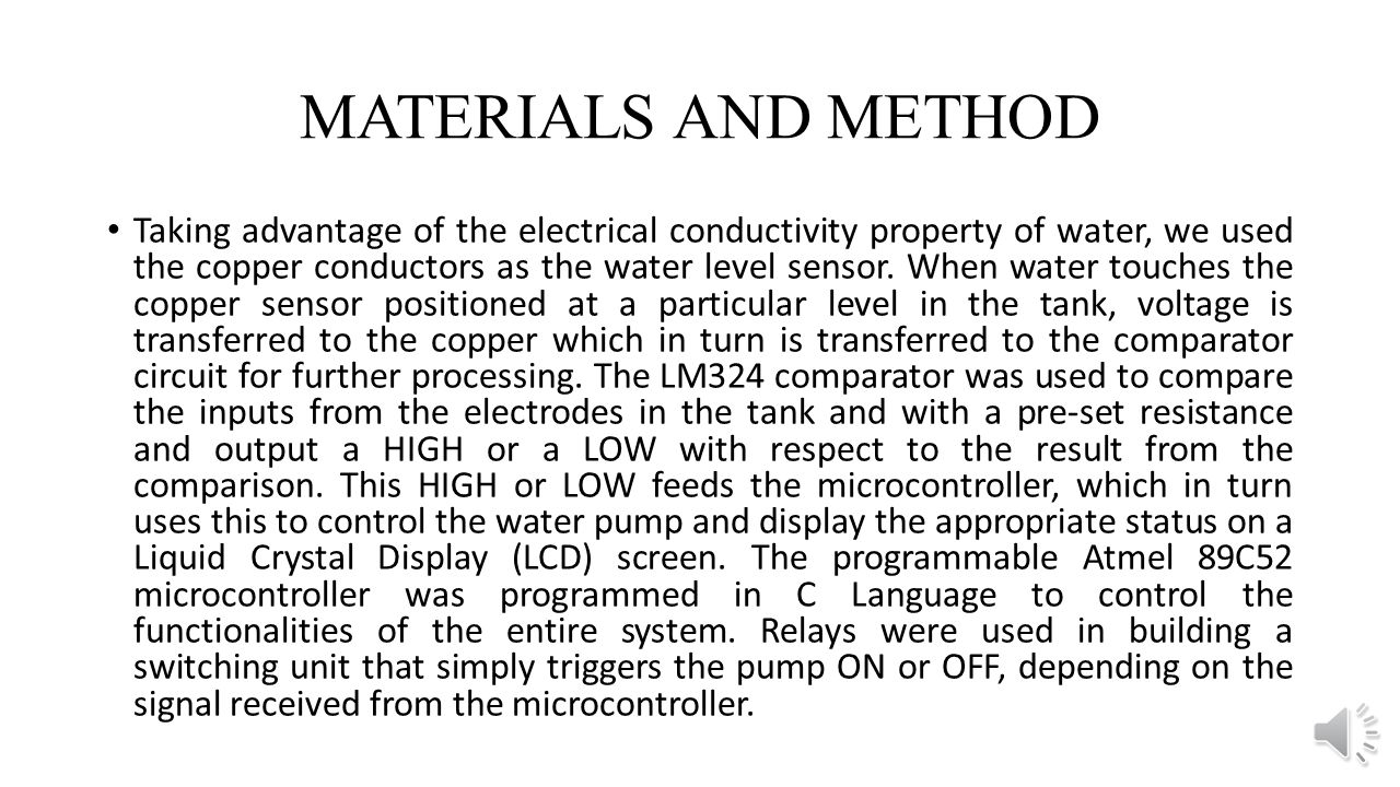 Development Of Microcontroller Based Water Pump Controller 1 Level Alarm Sensor Module Liquid Circuit Board Materials And Method Taking Advantage The Electrical Conductivity Property We Used