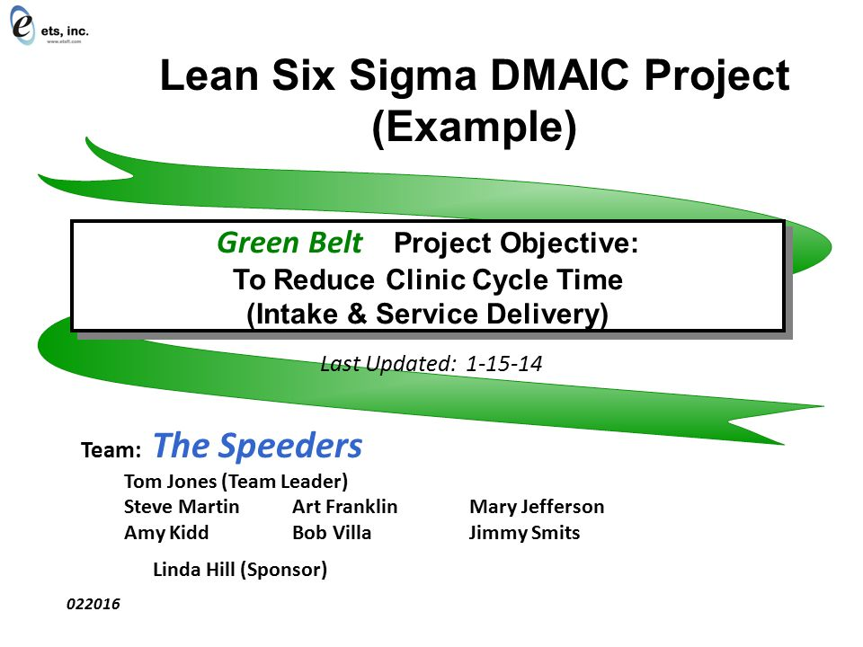 lean six sigma dmaic project example last updated team the