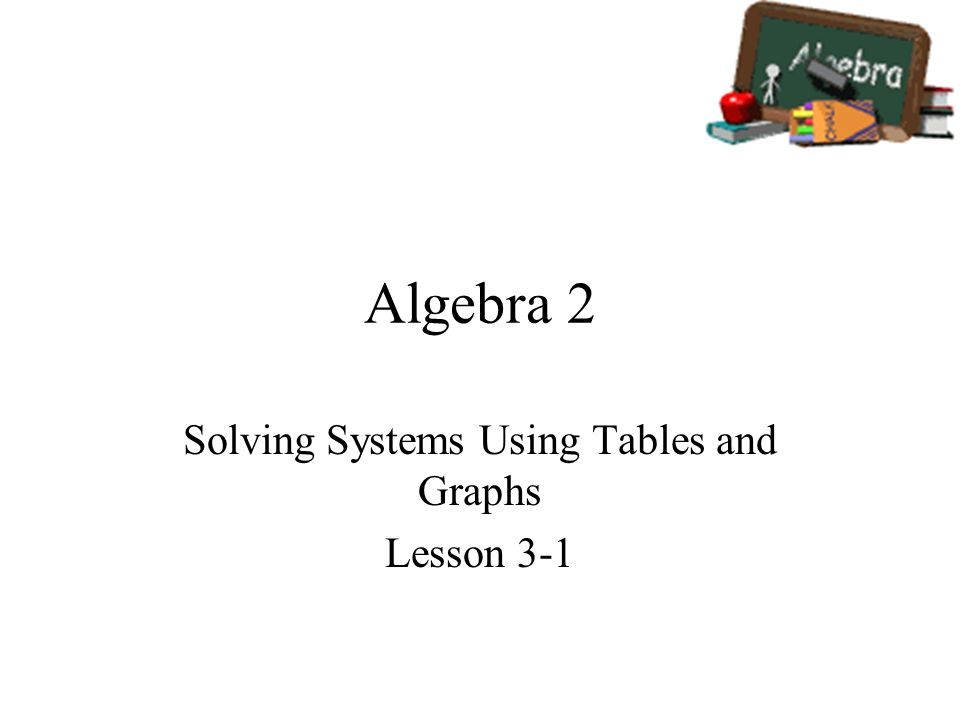 Algebra 2 Solving Systems Using Tables and Graphs Lesson ppt