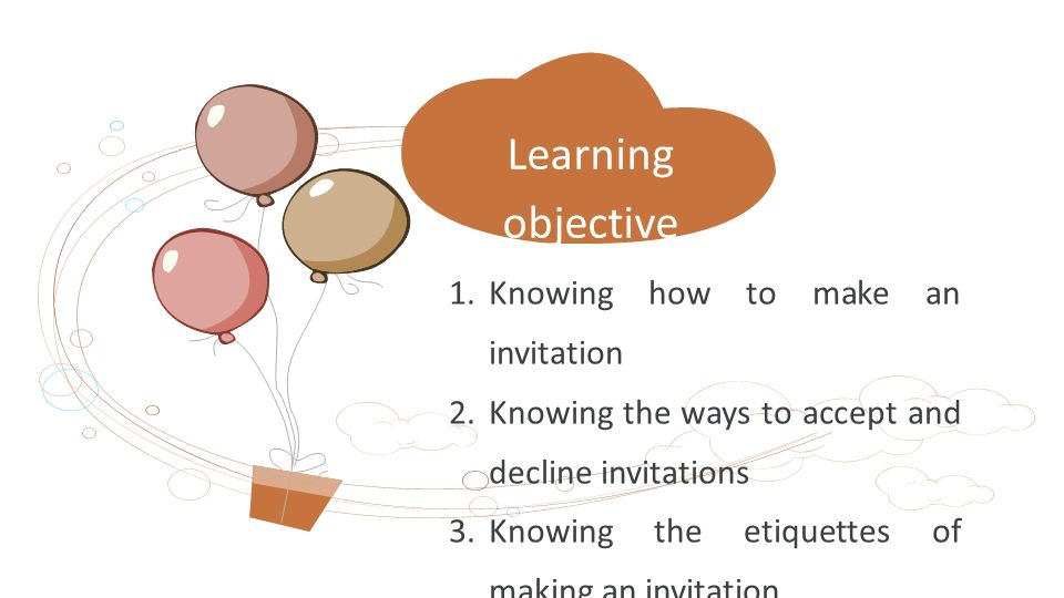 Knowing how to make an invitation 2.Knowing the ways to accept and decline invitations 3.Knowing the etiquettes of making an invitation Learning objective