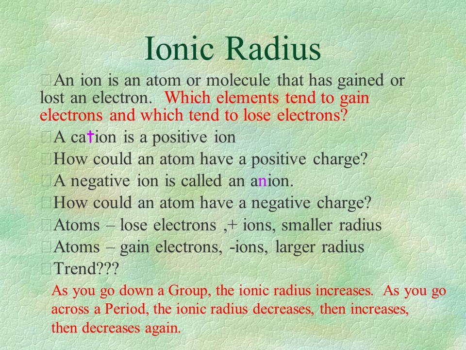 Periodic Trends Atomic Radius Ionic Radius Ionization Energy