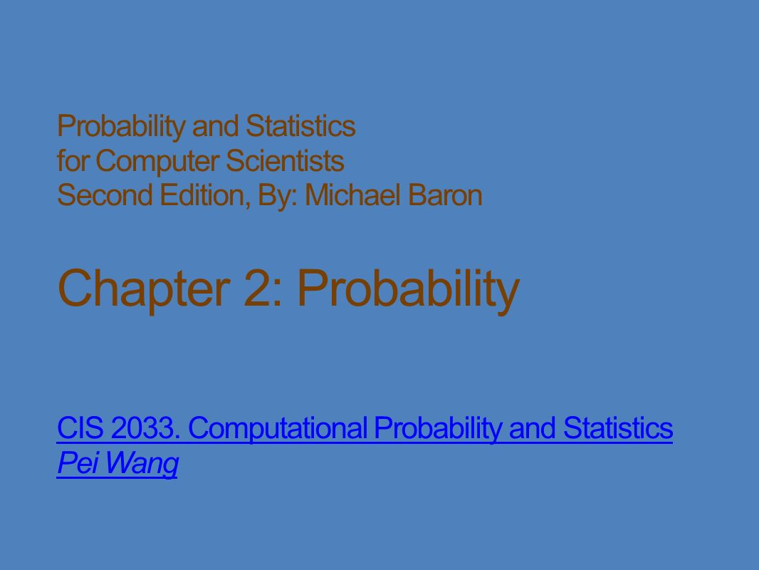 Probability And Statistics For Computer Scientists Michael Baron Pdf