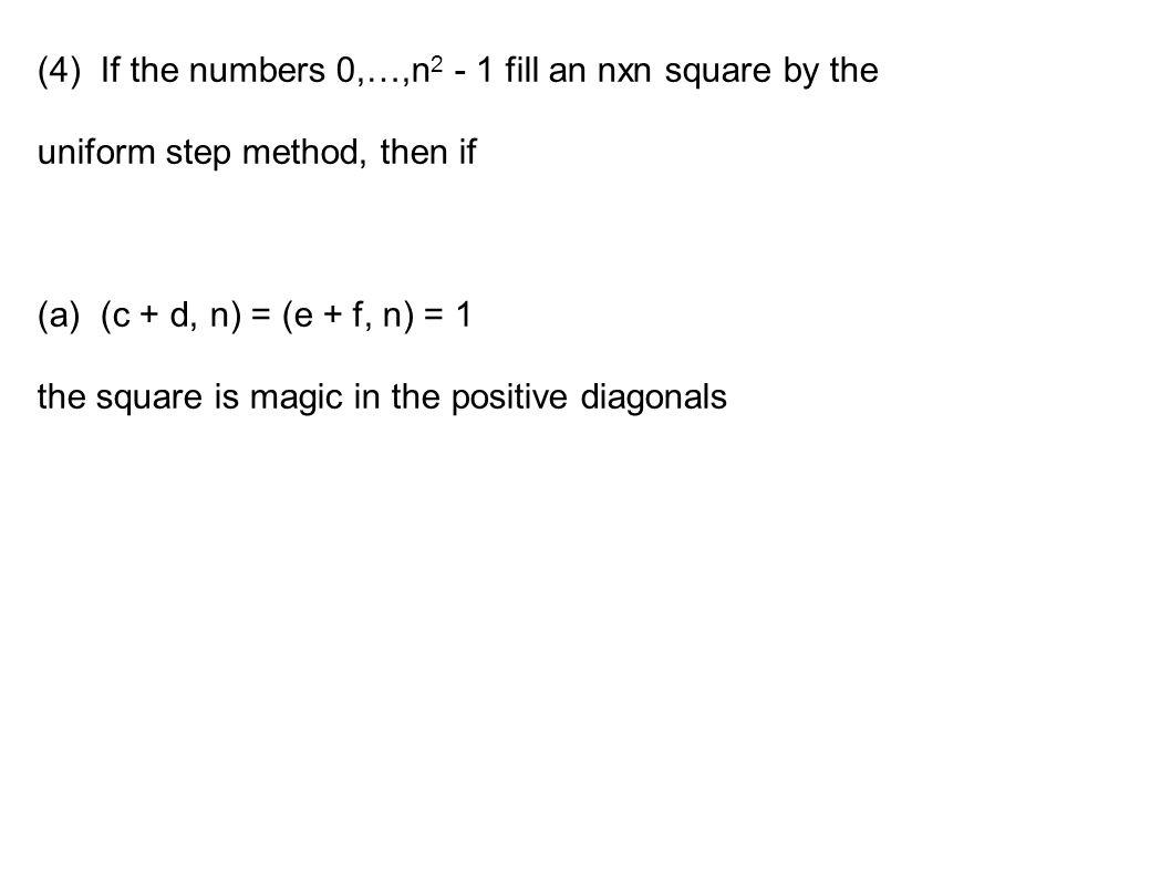 Magic Squares and the Uniform Step Method Matt Lehman