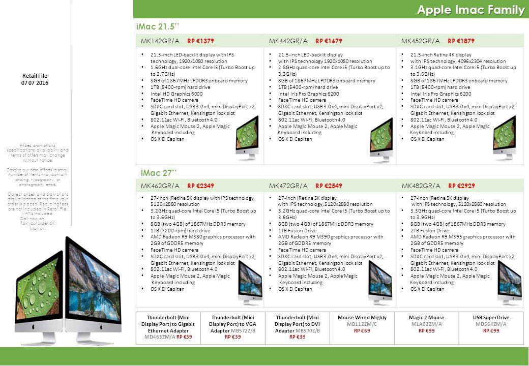 Apple Imac Family 27-inch (Retina 5K display with IPS technology