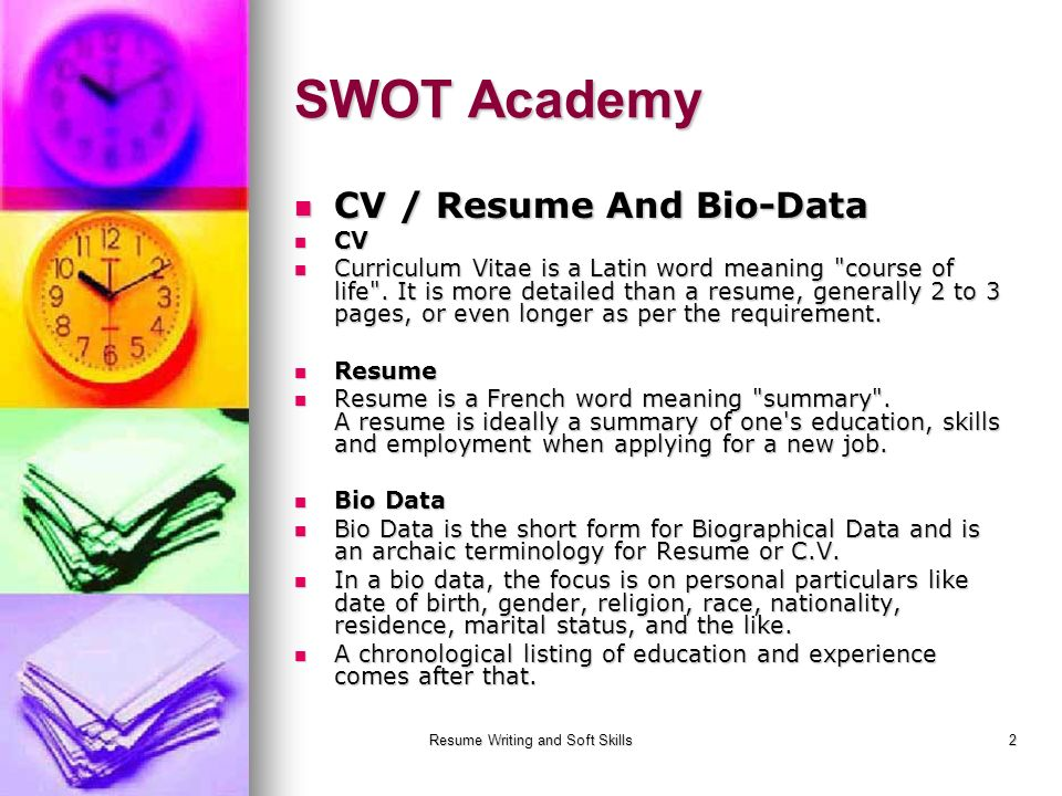 Resume Writing And Soft Skills 1 Resume Writing Swot Academy Ppt