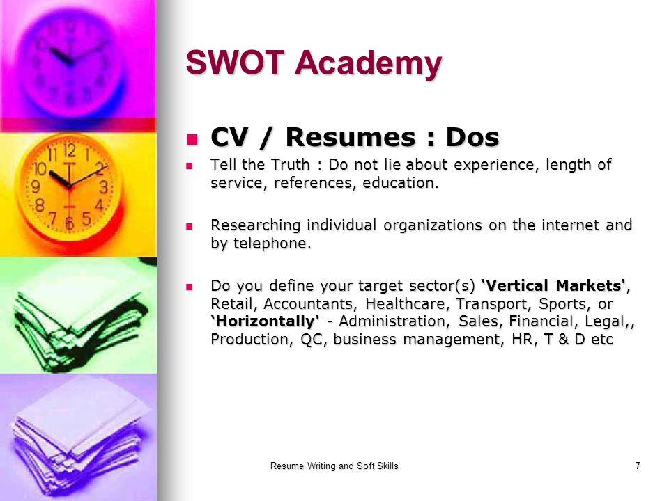 Resume Writing and Soft Skills 1 Resume Writing SWOT Academy. - ppt ...