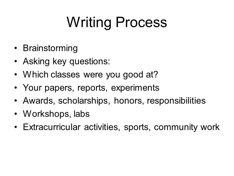 writing process brainstorming asking key questions which classes were you good at