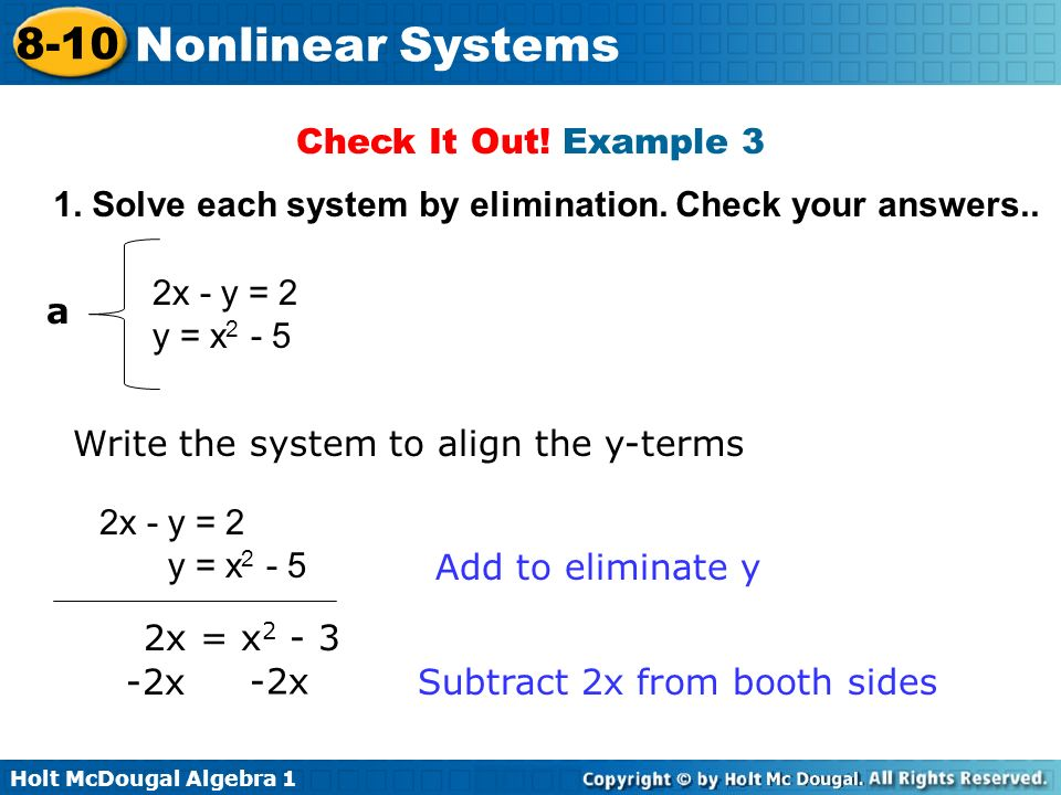 Holt Mcdougal Algebra Nonlinear Systems Recall That A System Of