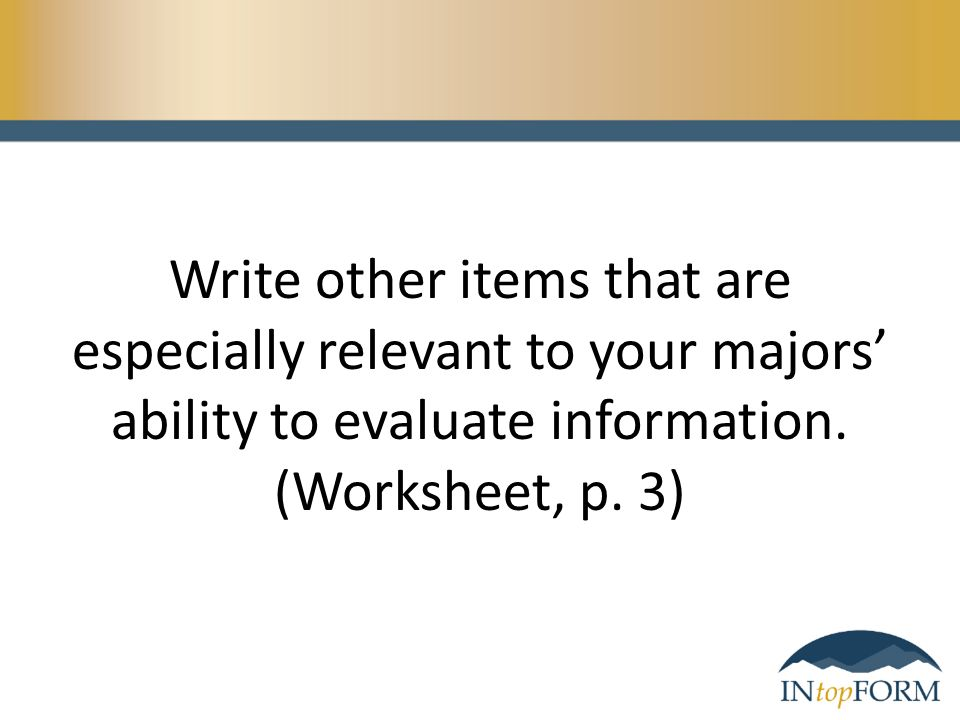What Comes To Mind When You Hear The Phrase Evaluating Information