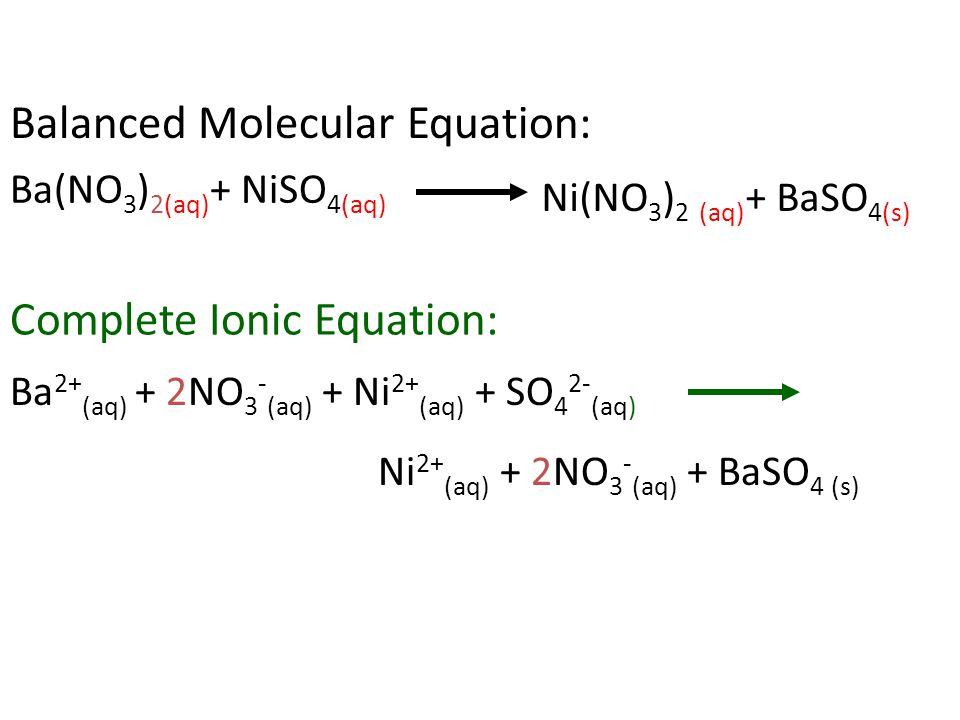 Representing Aqueous Ionic Reactions With Ppt. 18 Ba 2 Aq 2no 3 Ni So 4 Baso S Balanced Molecular Equation Plete Ionic Bano. Worksheet. Molecular Plete And Ionic Equations Worksheet At Clickcart.co