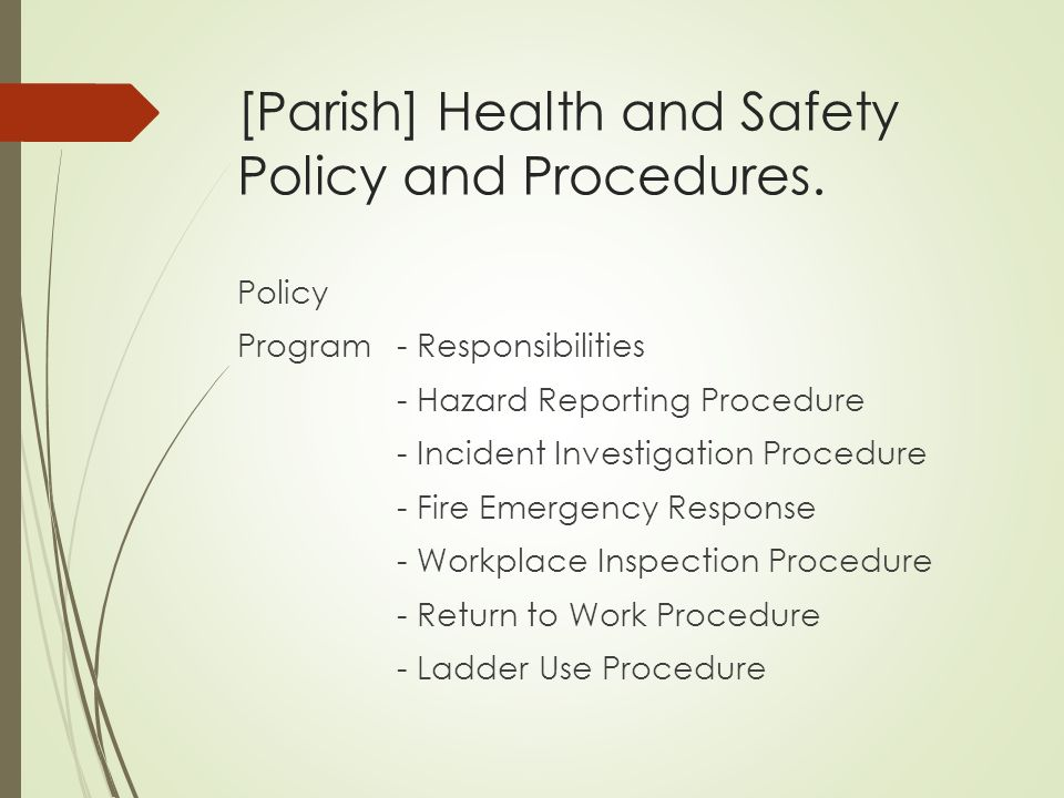 health and safety policies and procedures of the work setting essay Managing safety and health  a large business in a hazardous industry may have notebooks full of written policies and procedures and a full-time safety director  make sure to include workplace safety and health in your business plan and integrate it into all facets of the business.