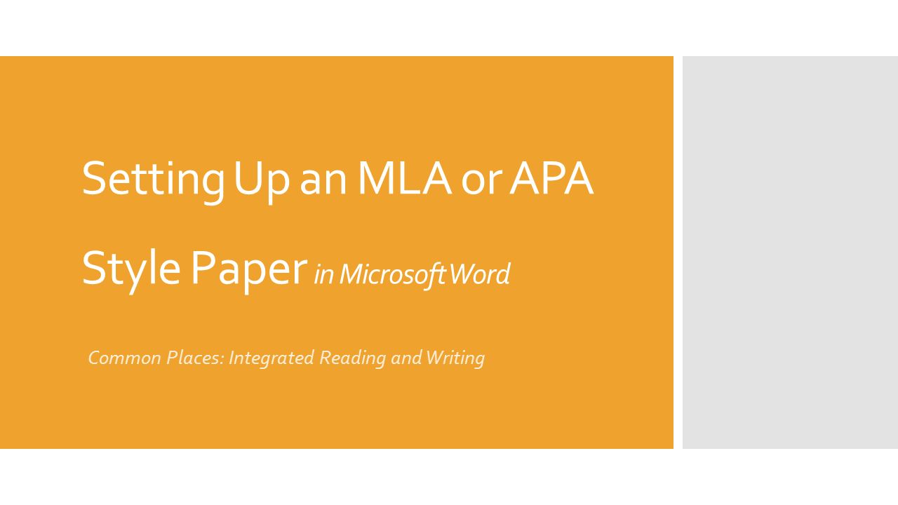 setting up an mla or apa style paper in microsoft word common places