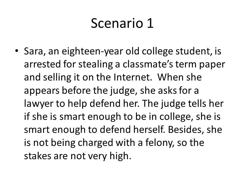Bill Of Rights Scenarios Practice Scenario 1 Sara An Eighteen Year