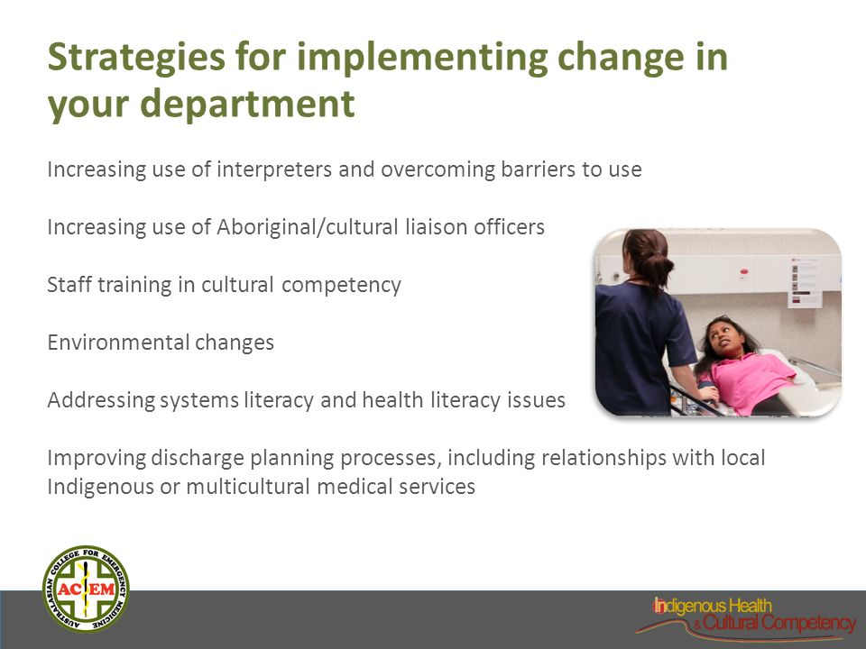 Strategies for implementing change in your department