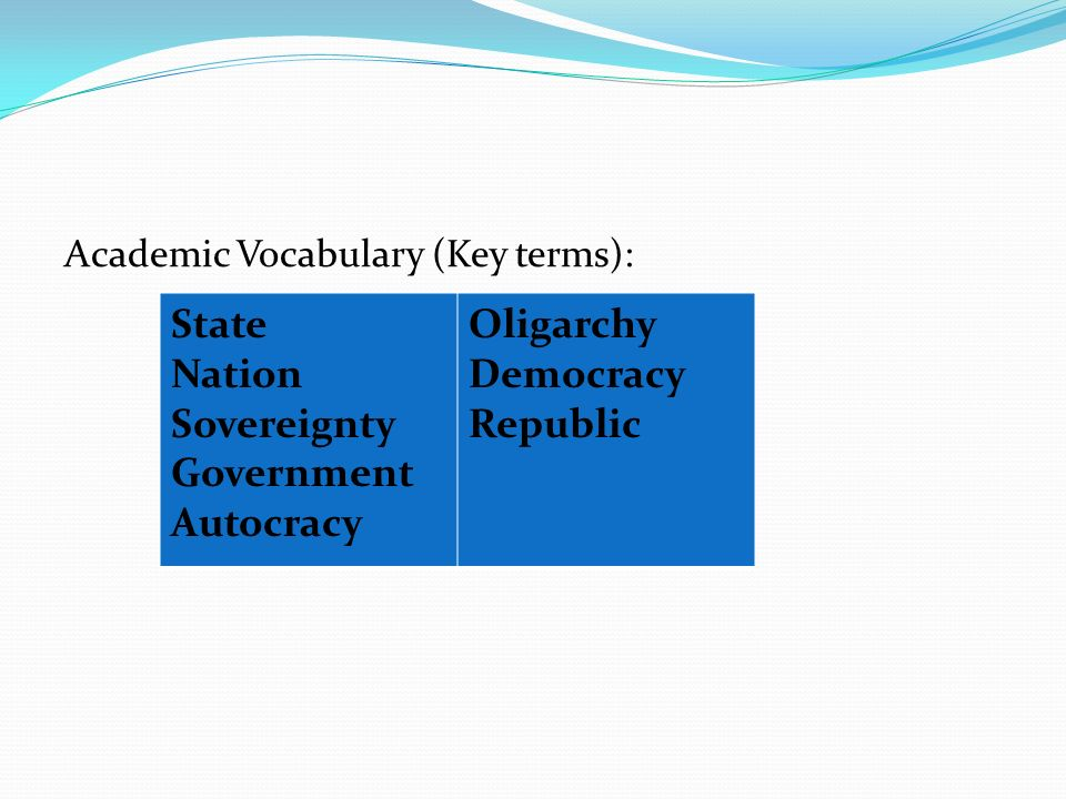 Academic Vocabulary (Key terms): State Nation Sovereignty Government Autocracy Oligarchy Democracy Republic