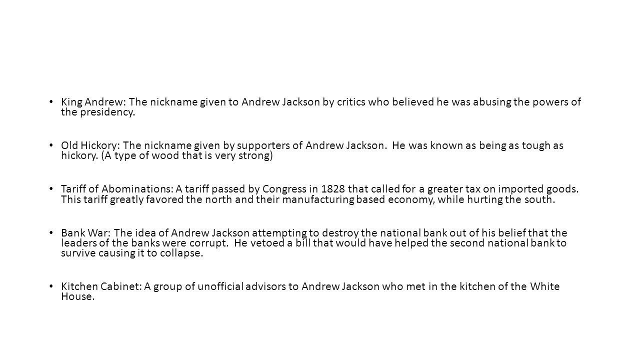 Andrew Jackson Vocabulary Spoils System The Practice Of Rewarding