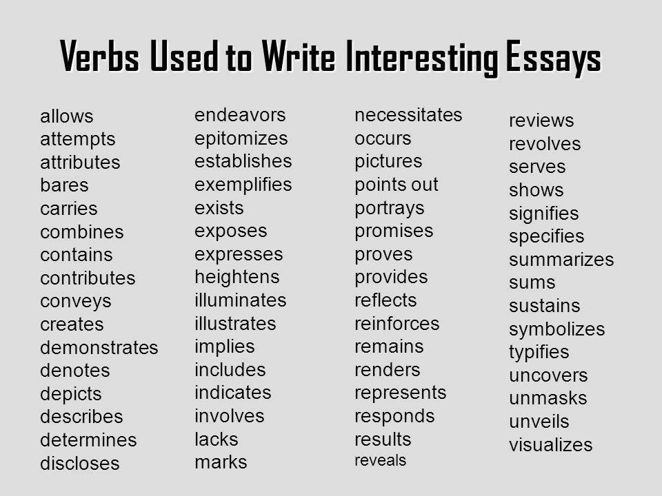 Strong Verbs For Essays