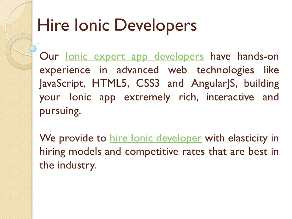 Hire Ionic Developers & Programmers - ppt download