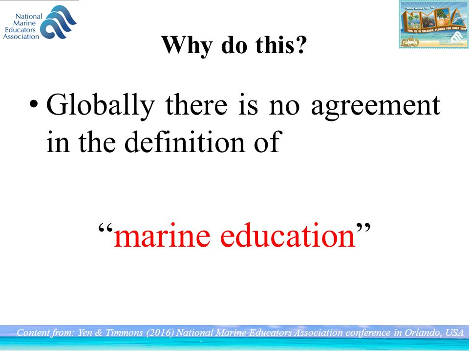 Today target 1  Taiwan Marine education 2  The difference of
