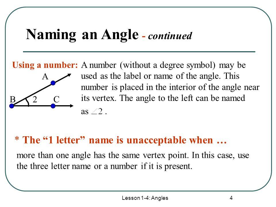 Lesson 1 4 Angles 1 Lesson 1 4 Angles Lesson 1 4 Angles 2 Angle