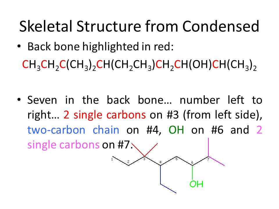 Converting Skeletal Structures To Condensed Formulas And Vice Versa