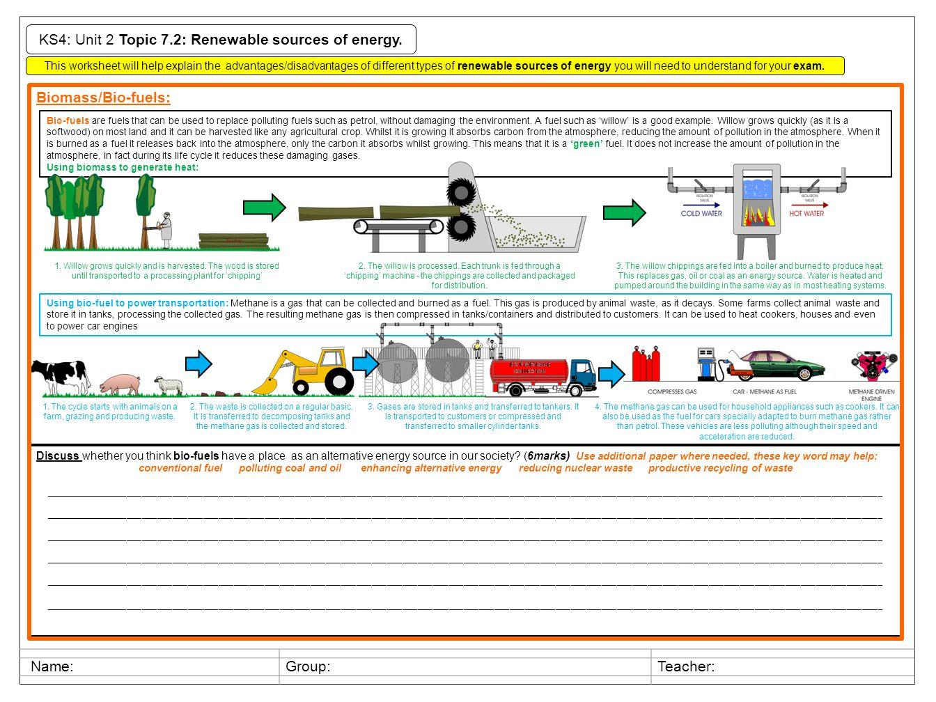 KS4: Unit 2 Topic 7.2: Renewable sources of energy. This ...