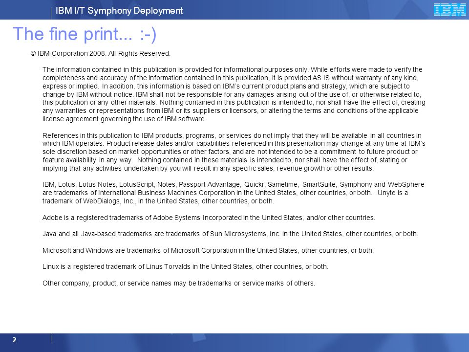 IBM IBM Lotus Symphony : Worldwide IBM internal deployment