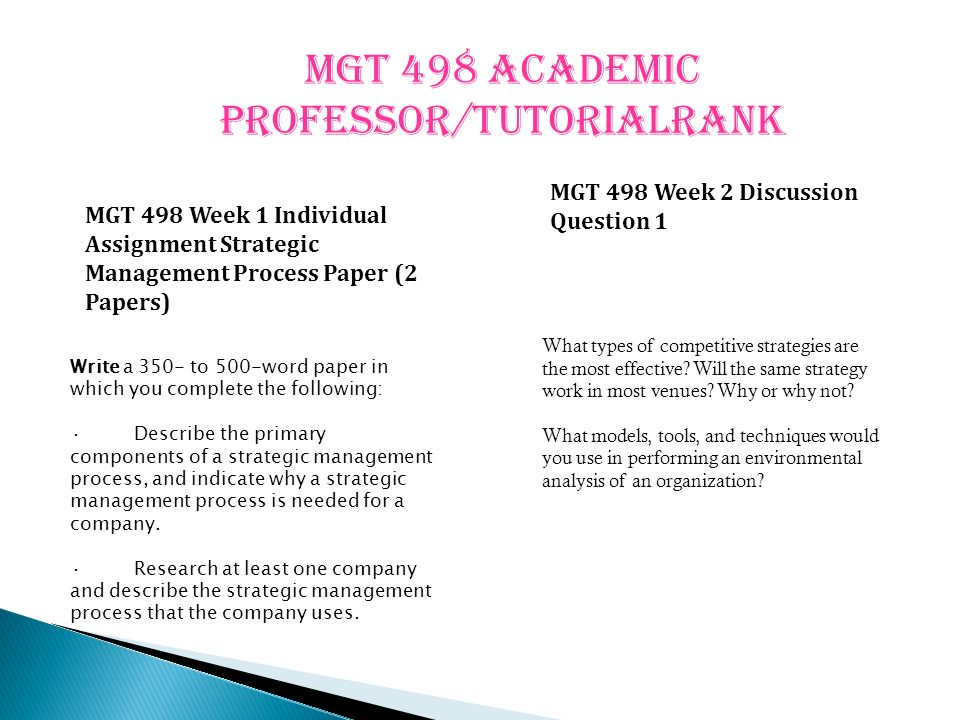 mgt498 week1 strategicmanagementprocess A strategic management plan addresses four different management functions: environmental scanning, strategy formulation, strategy implementation, evaluation and control weeks 3, 4 and 5 individual assignments (part 1, part 2 and part 3) are integrated to generate a strategic management plan.