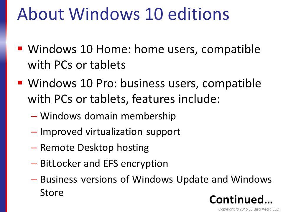 Windows 10 Copyright © Bird Media LLC  Course Objectives