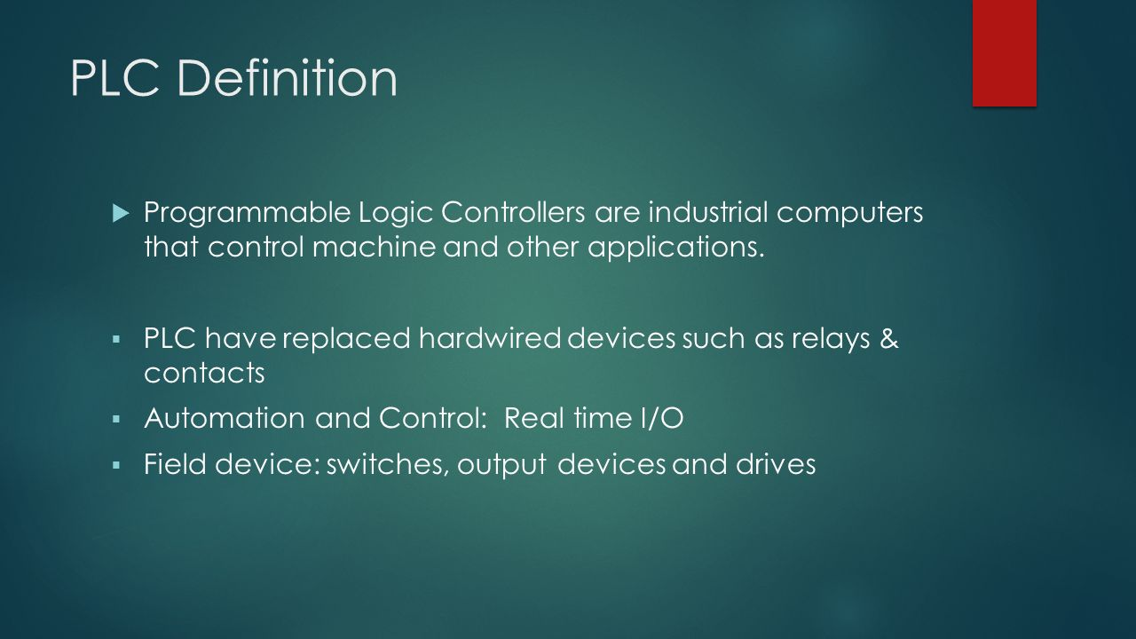 Lesson 1 PLC BASICS. PLC Definition  Programmable Logic ...