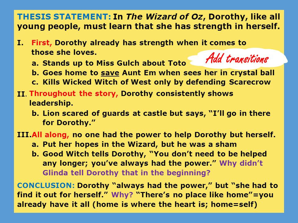 Wizard of oz thesis statement