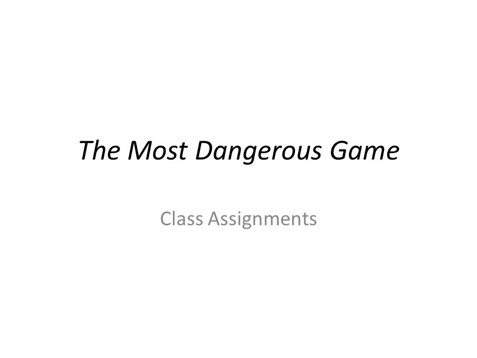 how many pages is the most dangerous game
