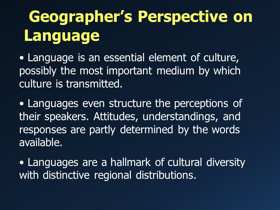CHAPTER 7 LECTURE OUTLINE THE GEOGRAPHY OF LANGUAGE Human