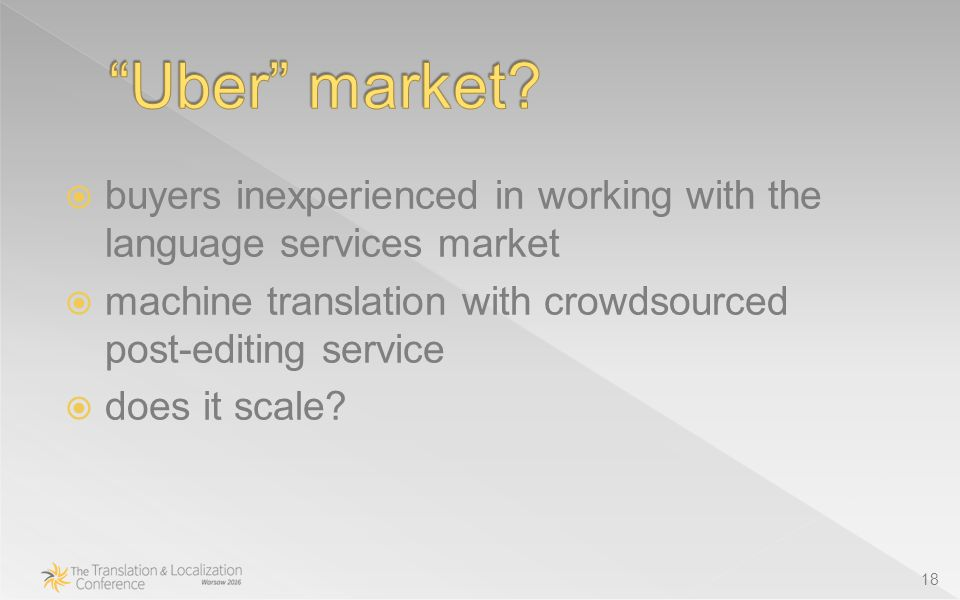  buyers inexperienced in working with the language services market  machine translation with crowdsourced post-editing service  does it scale.