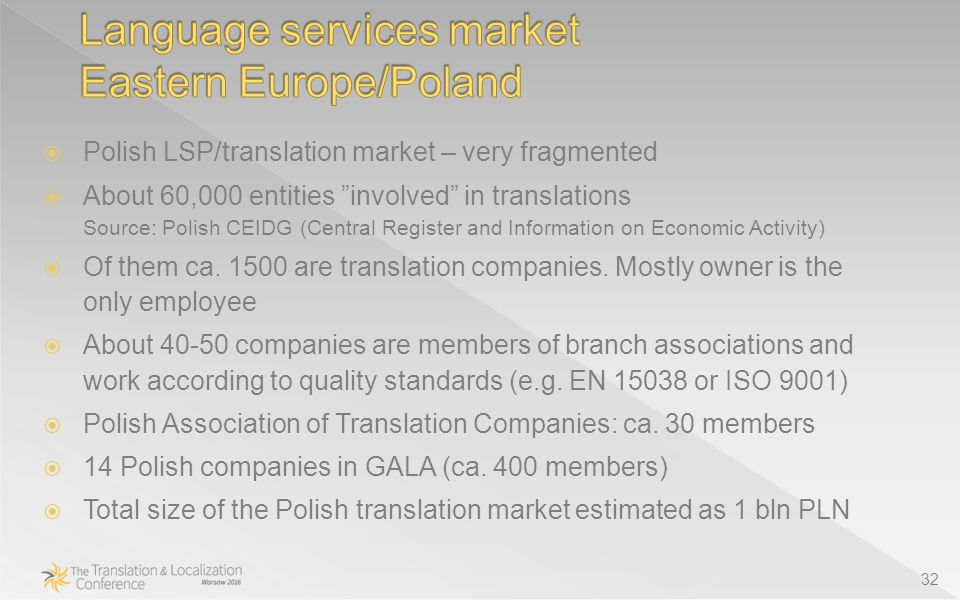 32  Polish LSP/translation market – very fragmented  About 60,000 entities involved in translations Source: Polish CEIDG (Central Register and Information on Economic Activity)  Of them ca.