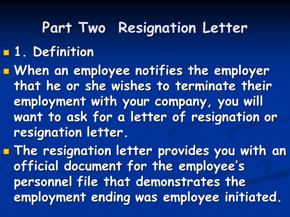 Unit Nine Application Follow Up Letter Resignation Letter Ppt