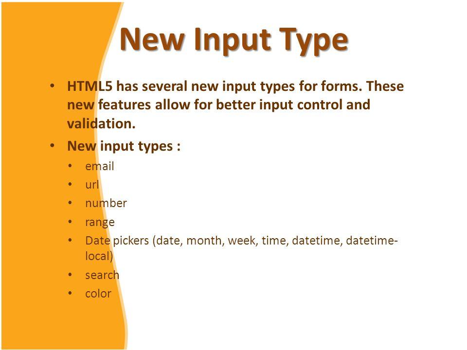 HTML 5 Tutorial Chapter 7 Input Type  New Input Type HTML5