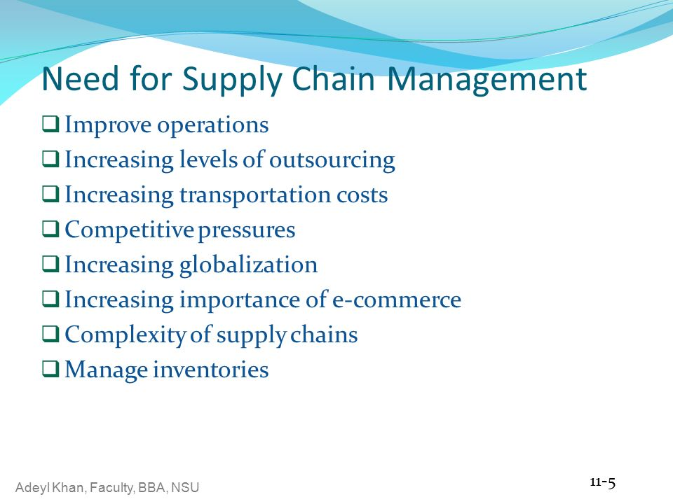 Adeyl Khan, Faculty, BBA, NSU  Supply Chain Management