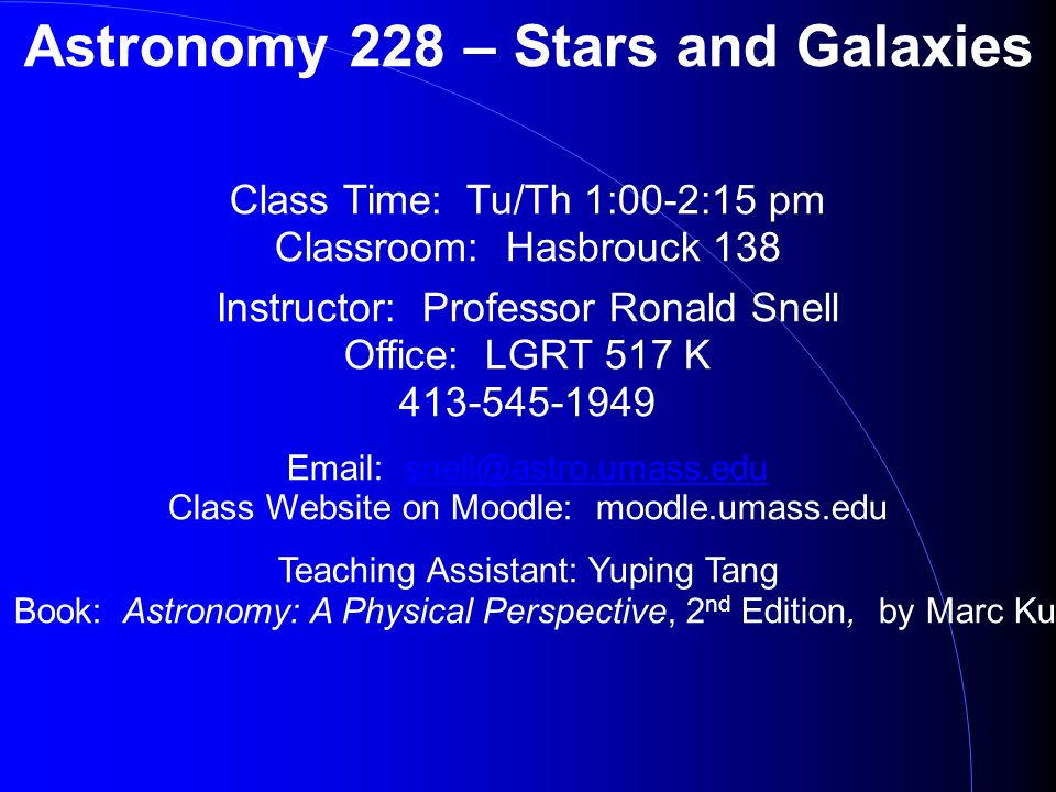 Astronomy 228 Stars And Galaxies Class Time Tuth 100 215 Pm