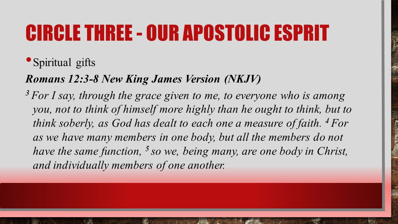 KINGDOM CONCEPT –OUR APOSTOLIC ESPRIT JUNE 5, 2016 PASTOR