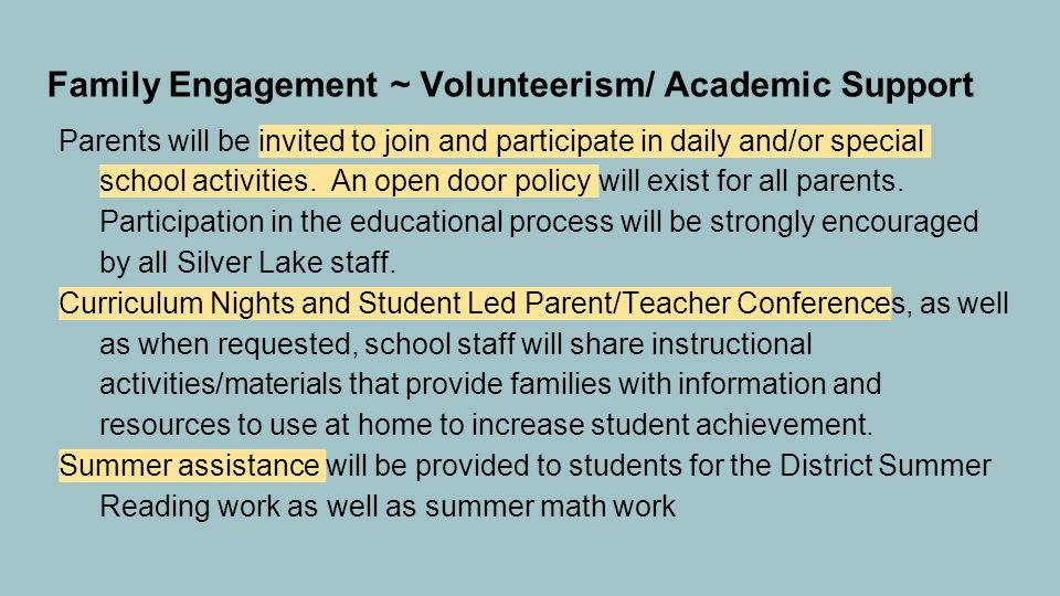 Silver lake pta oct 12 2016 family engagement and school data family engagement volunteerism academic support parents will be invited to join and participate in altavistaventures Images