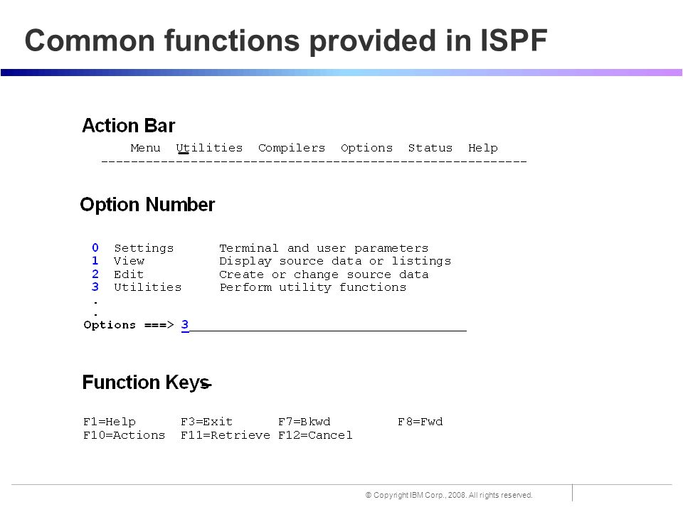 TSO/E and ISPF End-User Interfaces of z/OS:  © Copyright IBM Corp