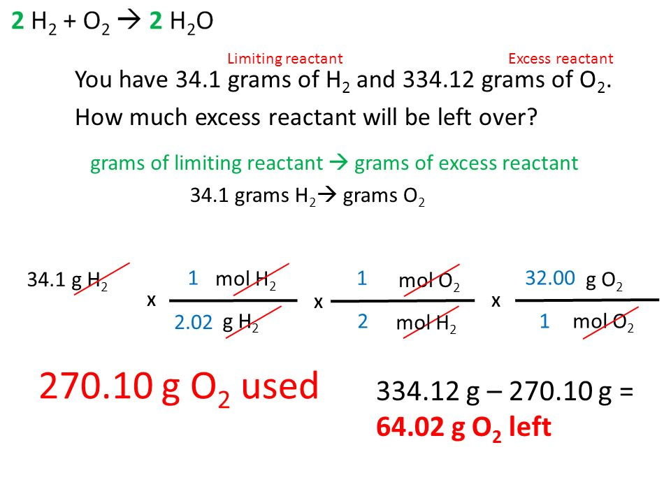Wedthurs April 1 Objective Calculate How Much Excess Reactant Is