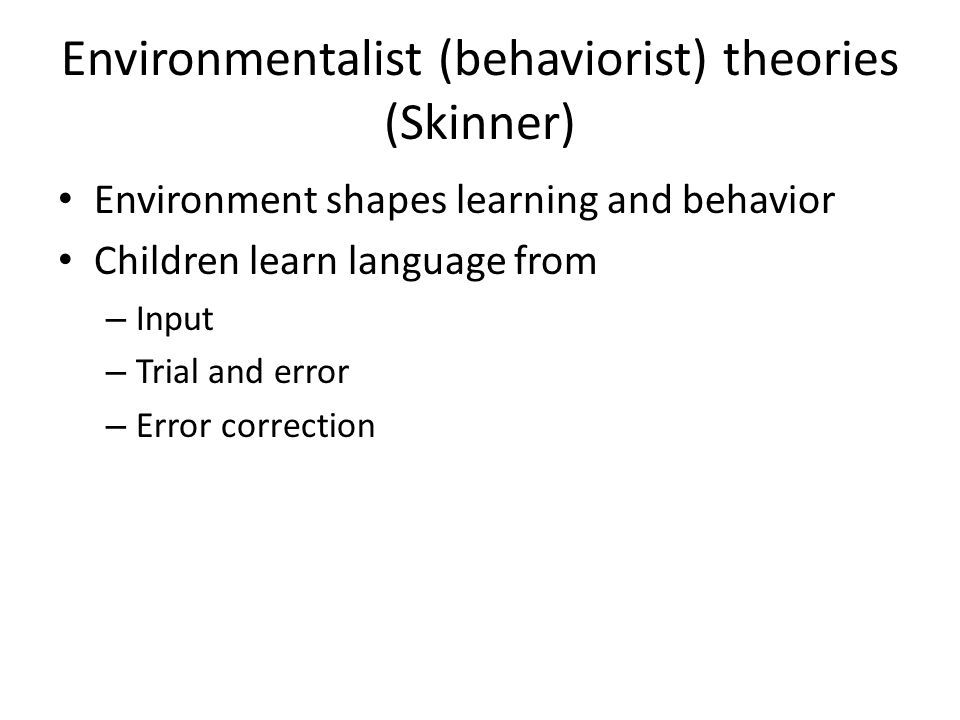 environmentalist theory of child development