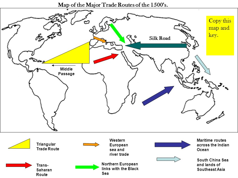 Major Trade Routes Of The 1500s Silk Road Across Asia To The
