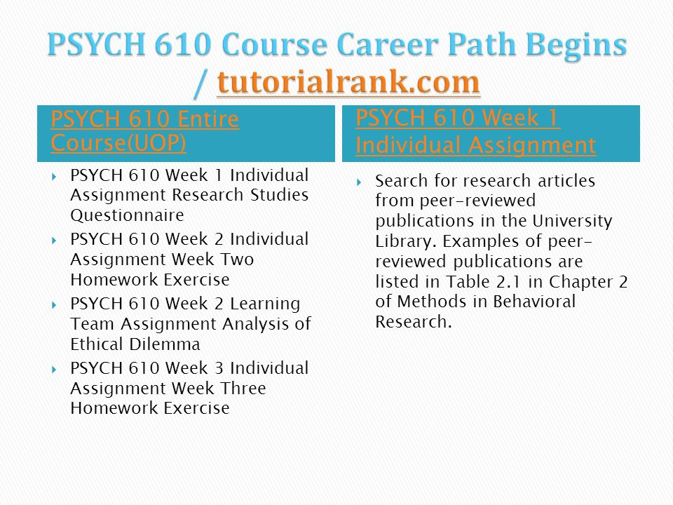 psych 610 week 8 individual assignment Psych 610 week 1 individual assignment research studies questionnaire psych 610 week 2 individual assignment week two homework exercise psych 610 week 2 learning team.