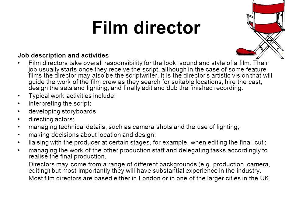 Director Job Description   Jobs Within The Media Industry Film Director Job Description And
