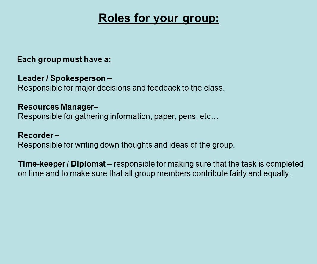 Year 11 maths enrichment.. Roles for your group: Each group must ...