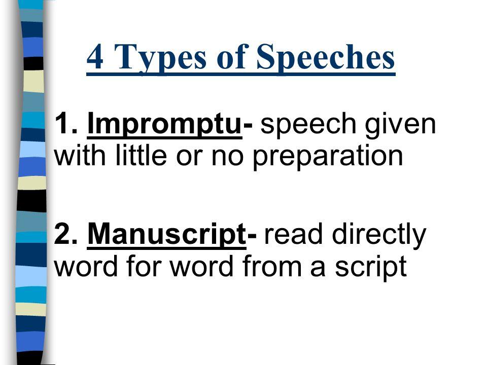 Organizing A Speech 4 Types Of Speeches 1 Impromptu Speech Given