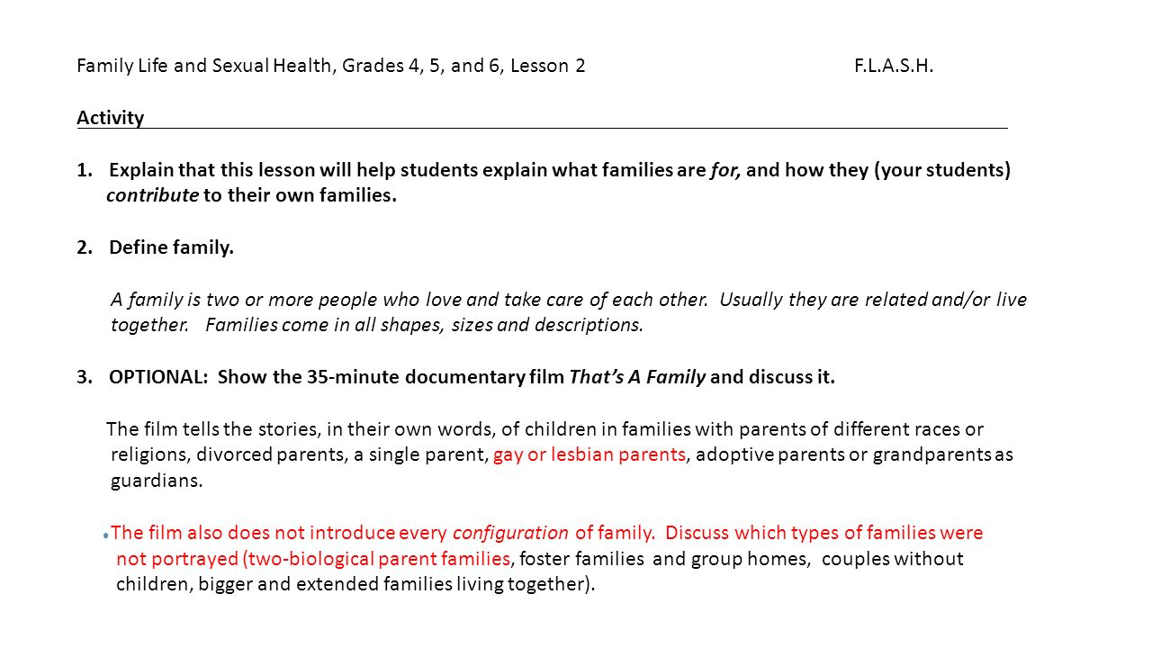 Flash Family Life And Sexual Health At The K 4 Level Its